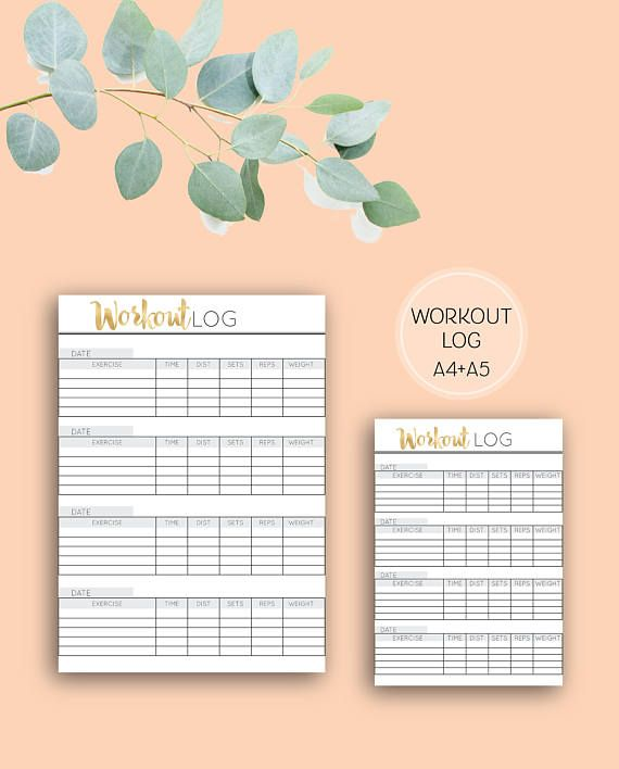 Printable Workout Log, Digital Download Health & Fitness Planner Pages in A4 and A5 sizes