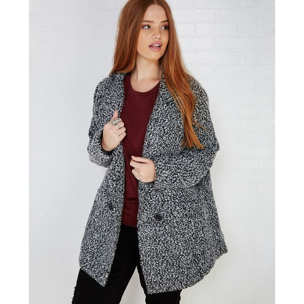 Ambiance Apparel  Boucle Peacoat With Pockets ($41) ❤ liked on Polyvore featuring plus size women's fashion, plus size clothing, plus size outerwear, plus size coats, plus size, wet seal, double breasted pea coat, double breasted peacoat, plus size peacoat and wet seal coats