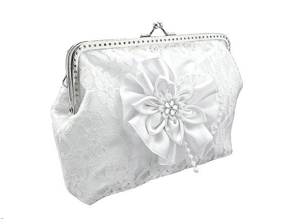 bride lace handbag bridal white clutch bag by FashionForWomen