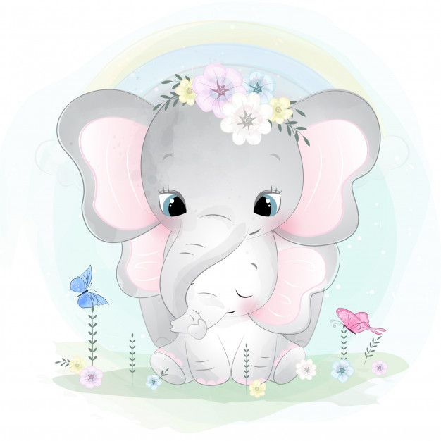 Cute Elephant Mother And Baby Baby Animal Drawings Baby Art Baby Elephant