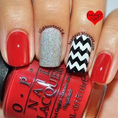 heartnat: Bundle Monster 2013 Create Your Own Stamping Plate Collection Review  OPI My Boyfriend Scales walls stamped using BM 423 in Konad Black. The red is OPI First Date at the Golden Gate and the glitter is China Glaze Glistening Snow.