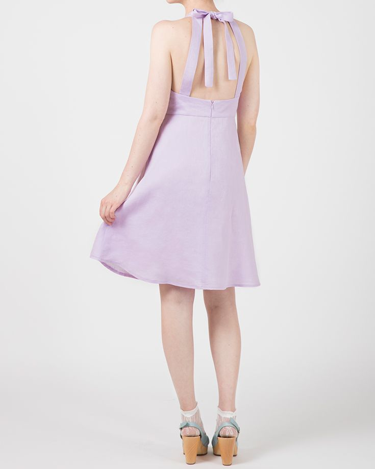 Plume Clothing. Jean Dress in lilac linen. Handmade in Melbourne.