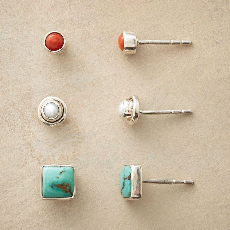 """THREE DAY WEEKEND EARRING TRIO--Our exclusive trio of posts is ready made for  a three-day getaway. Handmade in sterling silver with turquoise, coral and cultured pearl. 1/4"""" to 3/16"""" dia."""