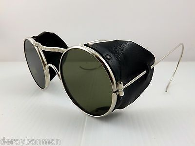 Vintage Leather Welding Steampunk Motorcycle Ski Sunglasses Goggles Side Cups | eBay