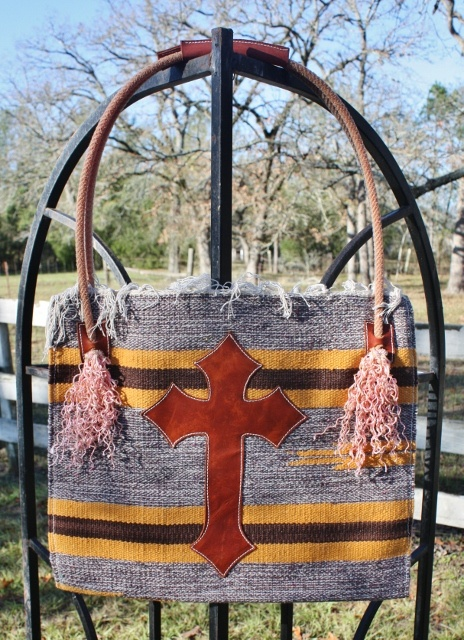 Navajo Handmade Chocolate Brown and Mustard Yellow Tote Purse with Leather Cross
