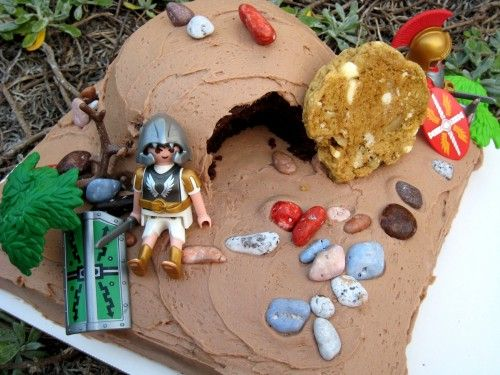 Resurrection Cake - What a lasting lesson this would be to let your child decorate this with his or her toys :)