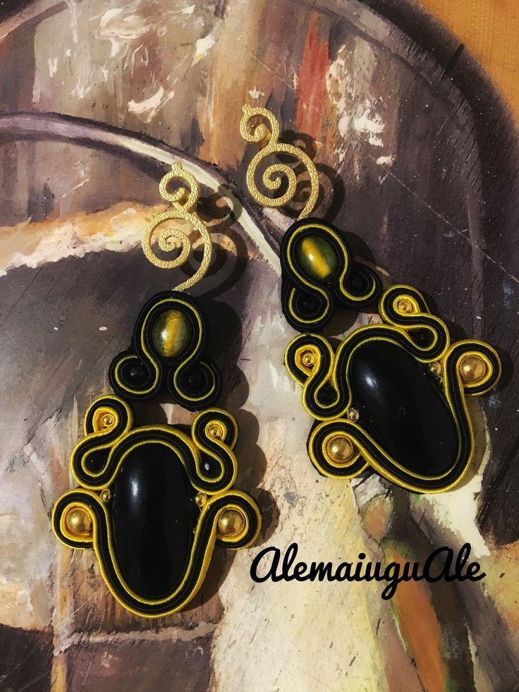 Black and Yellow earrings soutache