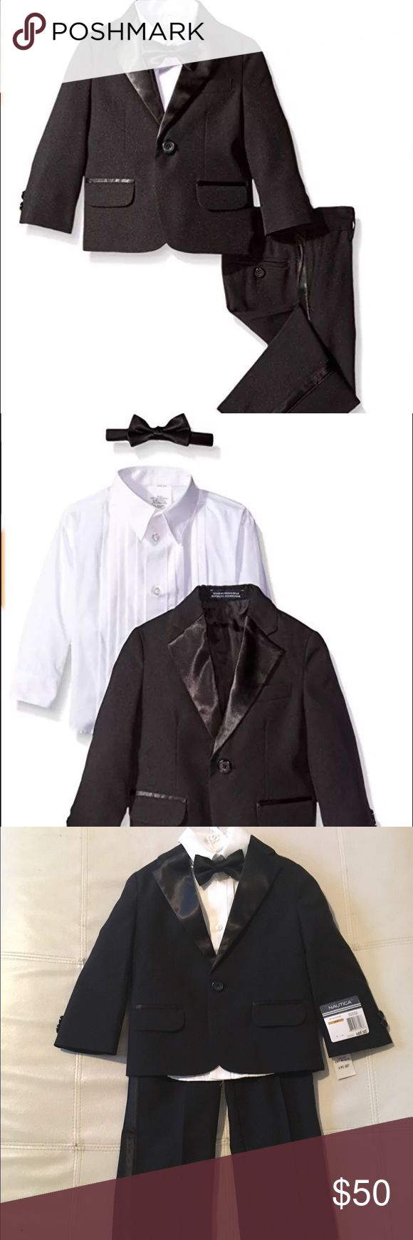 Nautica Little Boys' Tuxedo Suit Set with Bow Tie Color: Black 100% Polyester Imported Dry Clean Only Three piece suit set: jacket, shirt, pant Tuxedo style set Bow tie included Satin lapels on jacket and side insert on pant Nautica Matching Sets
