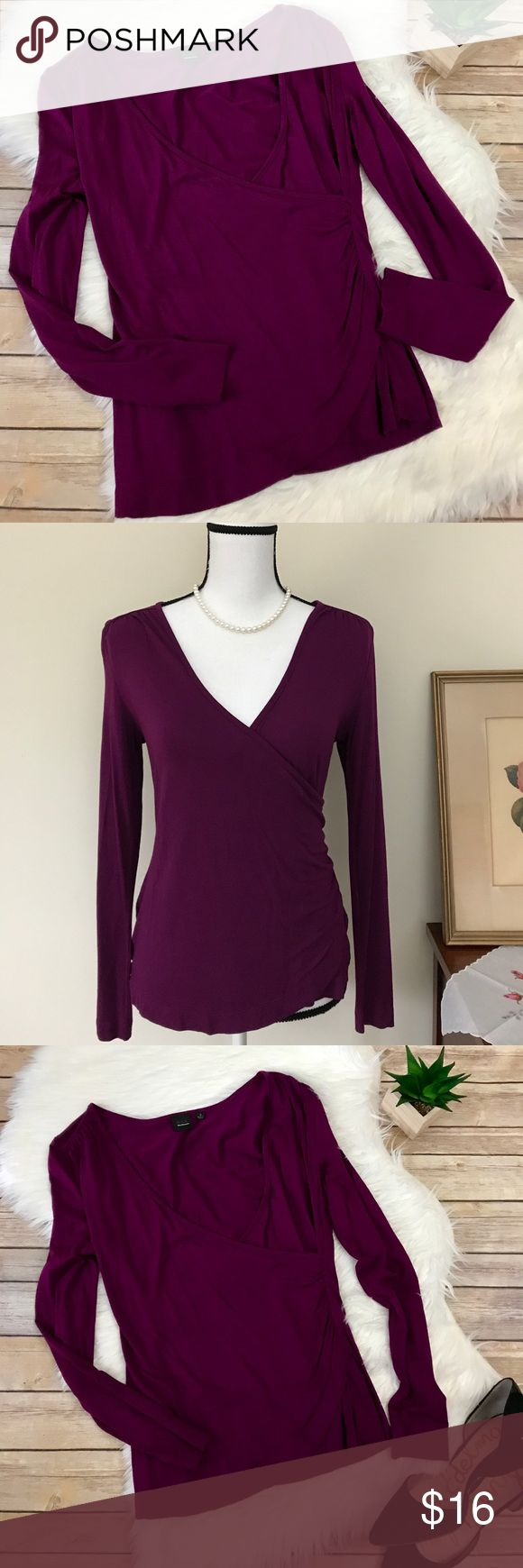 """Black Saks Fifth Avenue Cinched Wrap Top in Wine🌺 Black Sax Fifth Ave. Cinched Wrap Top in Wine. Size S. Beautiful wine colored top that wraps to one side with cinching and pleating detail.  Long sleeve.  Plunging v-neck. Viscose 95% and Spandex 5%, so there's a soft stretch to the material.  Measures approximately 22"""" long;  and 16"""" flat bust.  No stains, holes, pills, frays noted. 🌺 Saks Fifth Avenue Black Label Tops Blouses"""