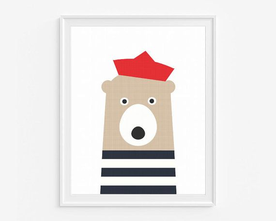 Bear nursery wall art- Printable art- Navy blue and red kids room decor- Sailor artwork- Instant download- 8x10 in - (A-354)