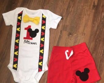 Mickey Mouse birthday Outfit suspender by KelseysKrazyKreation