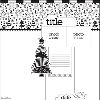 PageMaps Dec. 2014 12x12 sketch - could use holiday scrapbook paper on the top or die cut holiday shapes