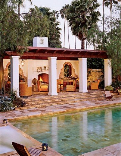 """He wanted a 1920s Spanish Colonial Revival house reminiscent of ones designed by George Washington Smith,"" architect Marc Appleton says of the residence he and designer Mark Enos created for Dwight Stuart, Jr., in Beverly Hills. The pergola was added to block the view of the neighboring house. (October 2006)                                                                                                                                                      More"