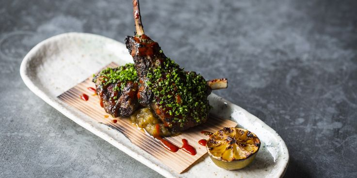 Scott Hallsworth cooks his lamb chops recipe with a Korean barbecue twist, adding a spicy miso sauce, matcha tea smoke and smoky miso aubergine.