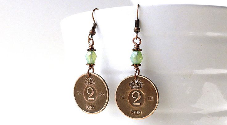 Swedish earrings, Coin earrings, Coin jewelry, Seafoam green earrings, Czech beads, Vintage coins, Gift under 30, Sweden, Coins, 1953 by CoinStories on Etsy