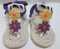 infradito neonata uncinetto- Crochet baby shoes