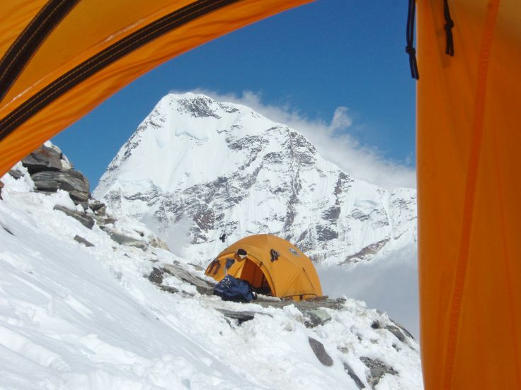 High Camp on Mera Peak - 20 days trek and climbing holiday to Nepal's highest 'walk-up' peak.