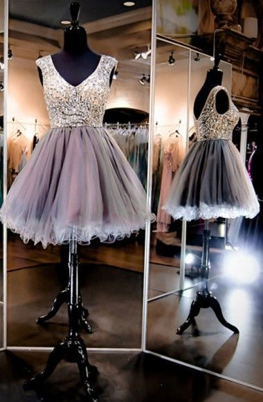 Charming Prom Dress,V Neck Short Prom Dress,Tulle Homecoming