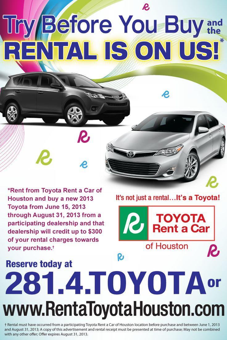 Toyota Rent a Car Summer Specials! http