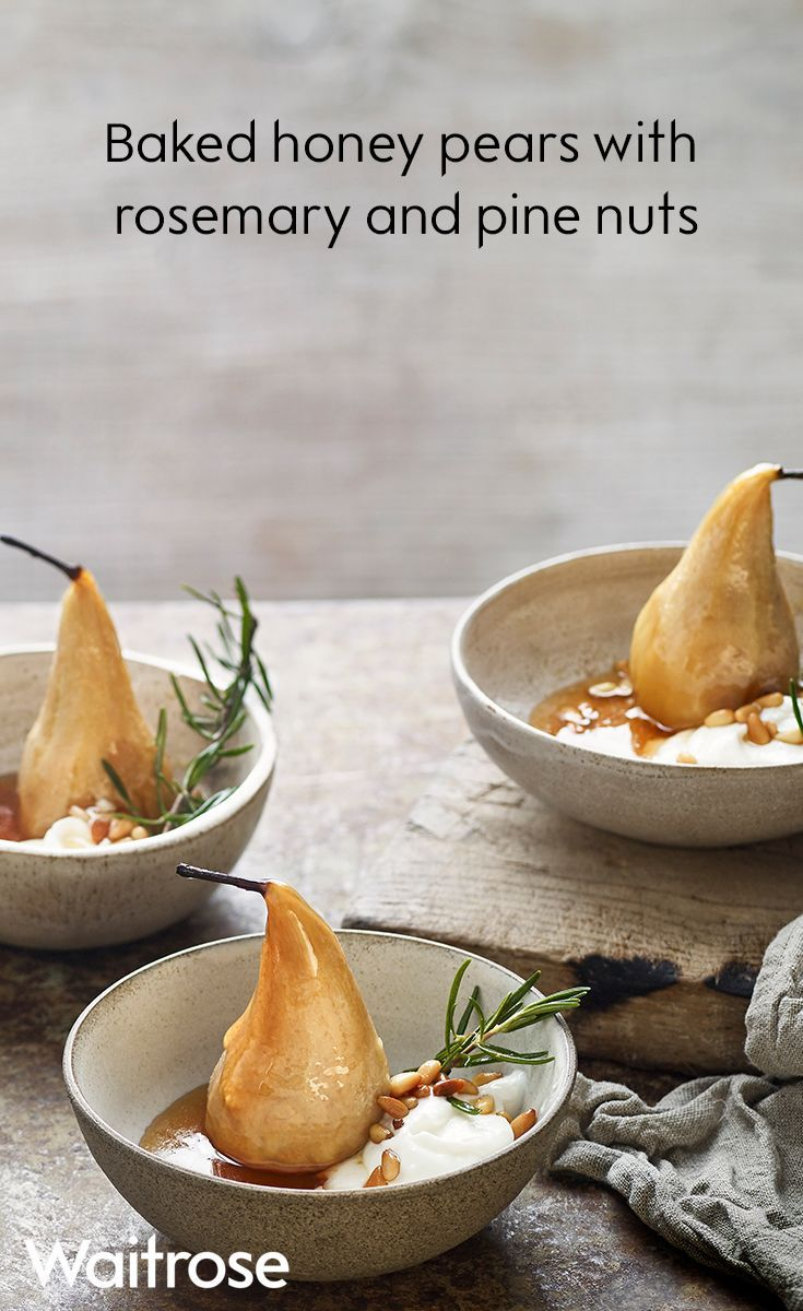 Baked honey pears with rosemary and pine nuts would make an easy dessert for a dinner party. Serve with a spoonful of creamy Greek yogurt to finish. See the full recipe on the Waitrose website.