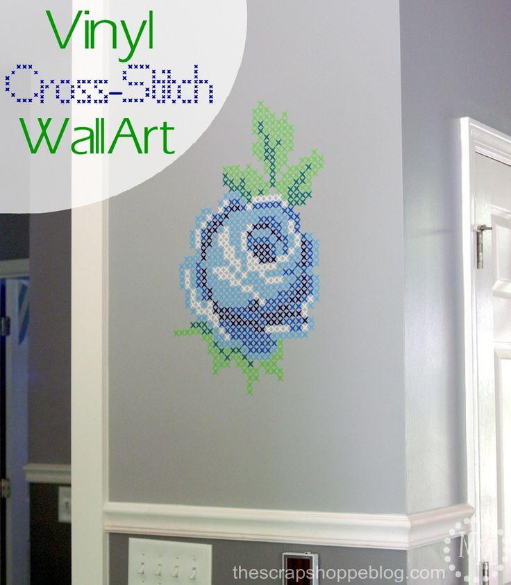 Vinyl Rose Cross-Stitch Wall Art - a fun Silhouette vinyl project!
