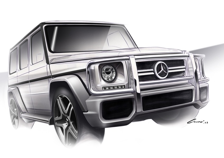 The spirit of the G class is timeless. It still remains iconic, raw, robust and unmistakable. With those design sketches, the G 63 AMG seems to be almost real.