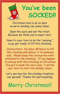 Christmas SOCKING Gift idea~ Printable version for the office, teachers, neighbors, etc.