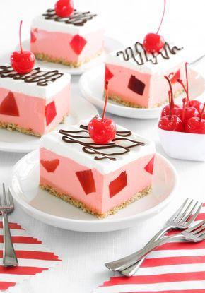 Whipped Maraschino Cherry Squares | Sprinkle Bakes