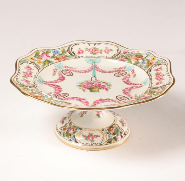 """Dresden hand painted porcelain tazza with rose swags. 8 3/4\""""Diam. Very good condition."""