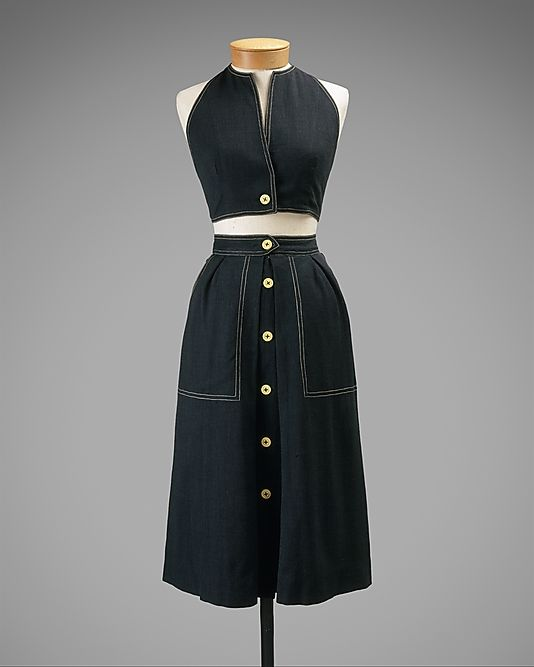 Ensemble  Claire McCardell  (American, 1905–1958)    Manufacturer:      Townley Frocks (American)  Date:      1944  Culture:      American  Medium:      cotton, rayon  Dimensions:      (a) Length: 19 1/2 in. (49.5 cm) (b) Length: 27 1/2 in. (69.9 cm) (c) Length: 13 1/2 in. (34.3 cm) (d) Length: 16 1/2 in. (41.9 cm)  Credit Line:      Gift of Claire McCardell, 1949