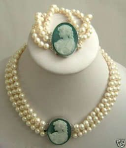 Fresh water Pearl necklace set with blue Cameo