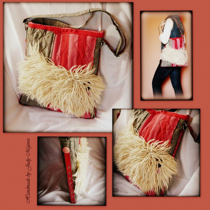 Handmade by Judy Majoros -Faux fur Hungarian Puli dog crossbody bag.  Quilted Recycled bag. Gray-pink-red-white