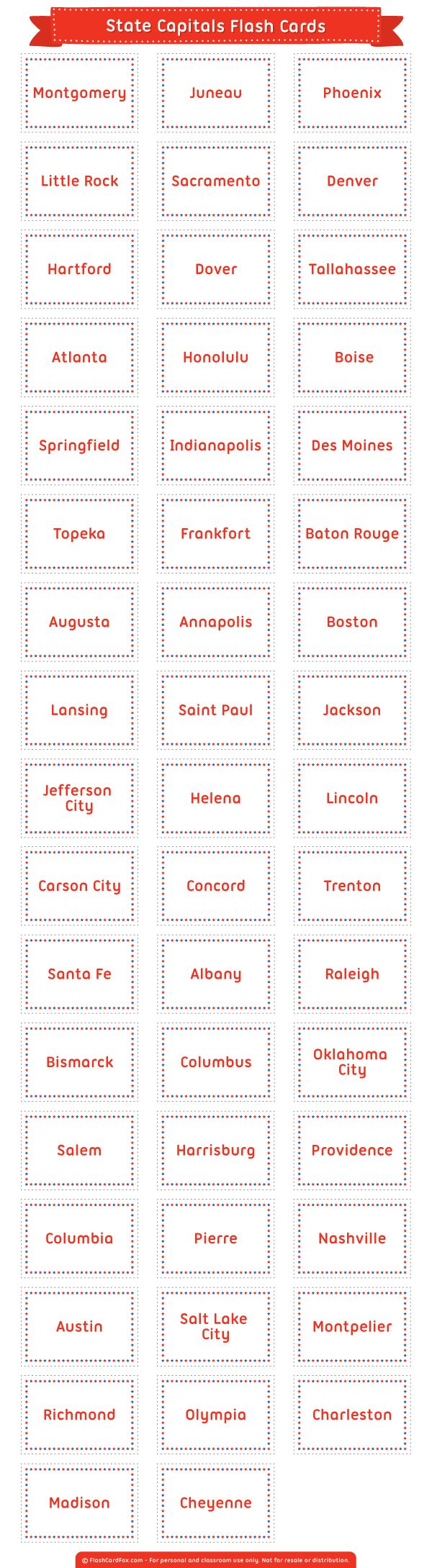 Smart image throughout states and capitals flash cards printable