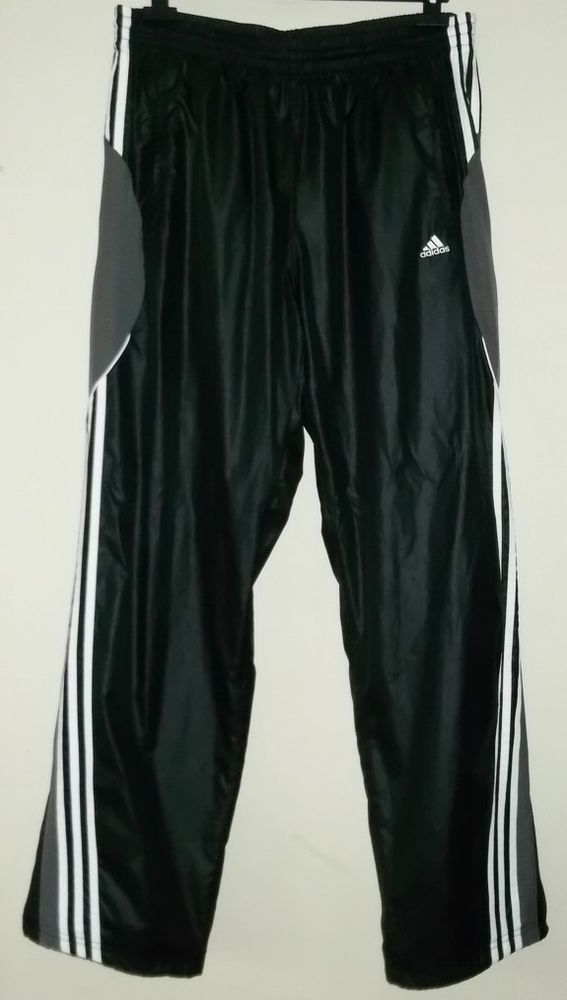 ADIDAS Mens Shiny Black Tracksuit Bottoms Pants Size XL #adidas