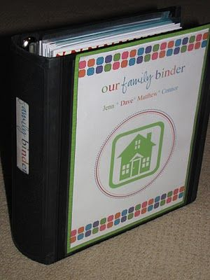 Family Binder!  Such a great idea to organize documents and other little things I don't have a place for