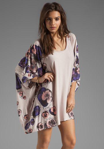 Lauren Moshi Kiki Pansies Cape Dress in Pink Ivory