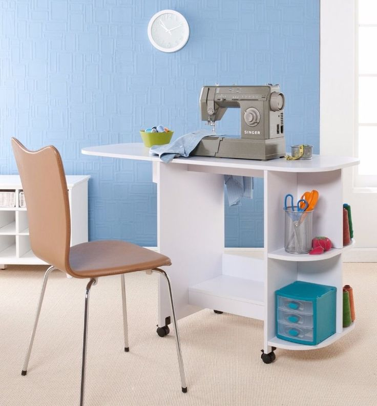 Transitional Wood Folding Rolling Sewing Machine Table With Shelves Storage #SewingmachineTable