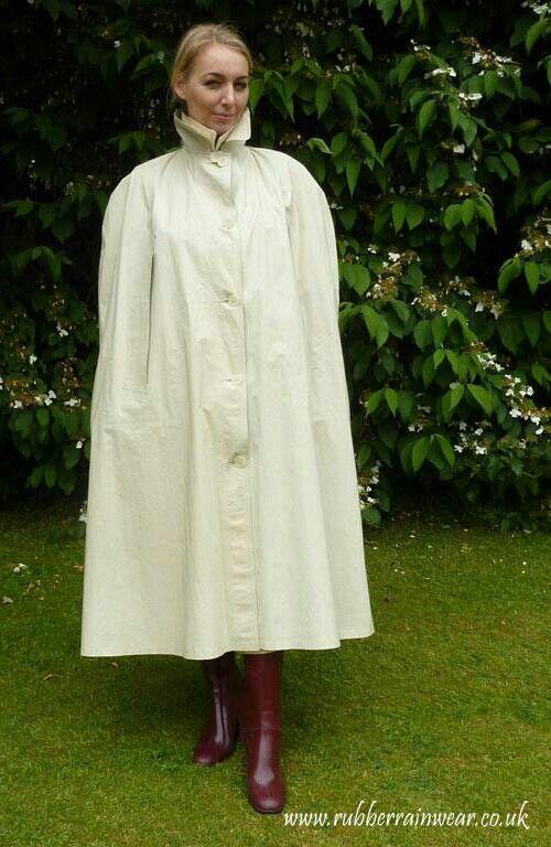 White rubberised cape.