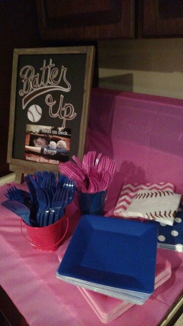 Baseball gender reveal party.