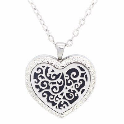 Celestial Heaven Heart Shaped with Crystals Aromatherapy Essential Oil Diffuser Locket Necklace