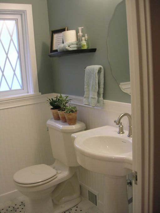 Wainscotting and pretty paint colour bathroom decorations Pretty powder room ideas