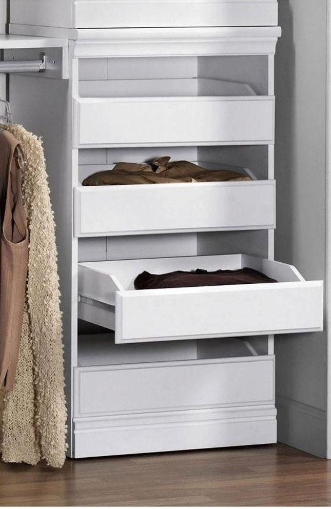 Expand the function of your custom closet system by adding the Manhattan Modular Storage Drawers. Designed for use with the entire Manhattan series of custom closet organization, these open drawers are perfect for shirts, pants and an assortment of clothing accessories.