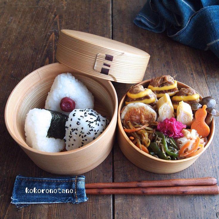 ❁.*⋆✧°.*⋆✧❁ Today's bento. ・ 今日の娘弁。 『しましまチーズバーグ』弁当。 ・ ・ ❁しましまチーズバーグ ❁カレーきんぴら ❁椎茸のチーズ焼き ❁丹波しめじの醤油焼き ❁切り干し大根&人参煮 ❁ちりめんじゃこ&ピーマンの山椒佃煮 ❁紫キャベツのマリネ ❁人参の甘酢漬け ❁だし巻き卵 ❁おにぎり(梅・ごま塩・海苔) ・ ・ #OnigiriAction #こころのたね弁当 #LINEブログ更新中 ❁.*⋆✧°.*⋆✧°.*⋆✧°❁