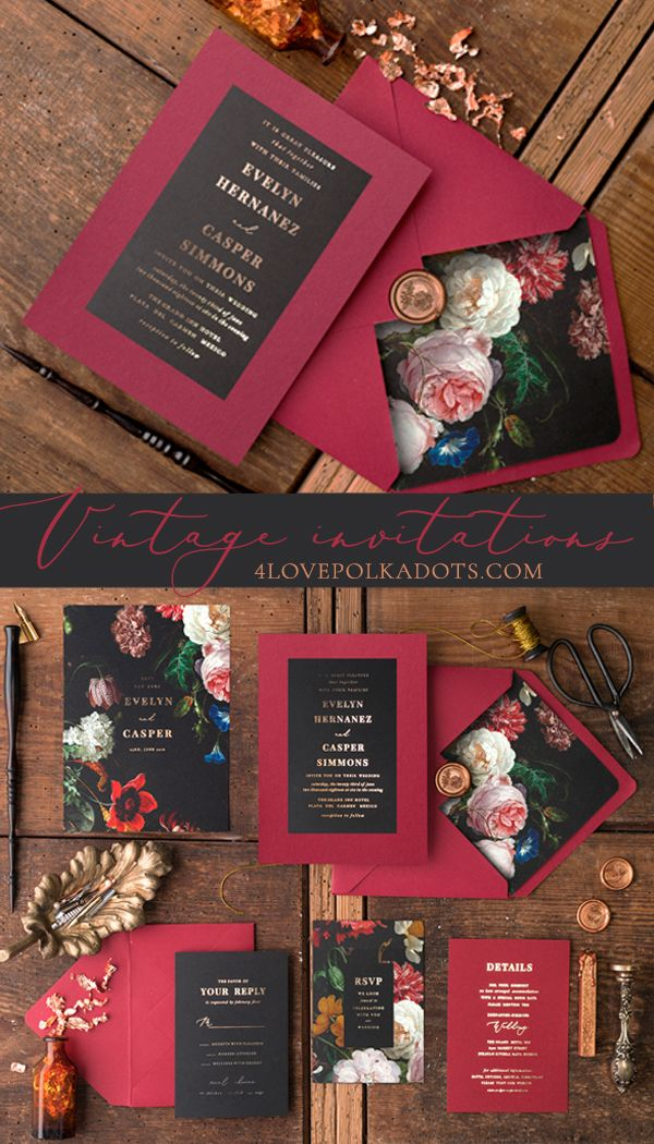 Vintage wedding invitations in Marsala & Black with beautiful floral printing and rose gold foil and delicate addition of a twine.  Glamorous and elegant. Fully assembled and completely customized #wedding