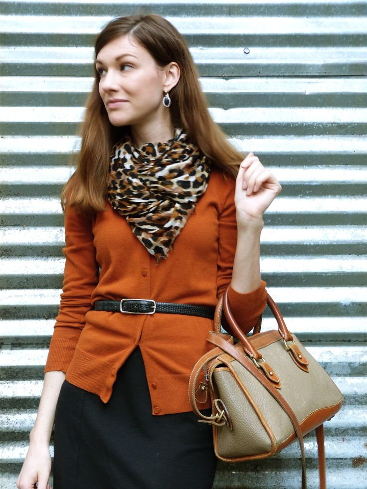 Colored Cardigan, Leopard Scarf, Thin Belt and Skirt