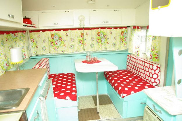 Bright red polka dots and floral with teal cabinets make Elsie a glamorous 50s inspired reno. The consistent color palette brings the whole ...