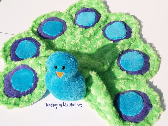 Peacock Stuffed Animal Lovie Blanket Lovey by MonkeyintheMailbox, $30.00
