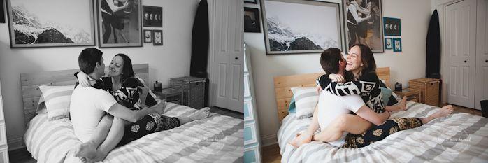 In-home lifestyle engagement session bedroom laying down pillow fight. Séance de fiançailles couple romantique à la maison à Montréal |Lisa-Marie Savard Photographie |Montréal, Québec |www.lisamariesavard.com