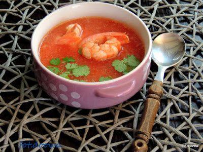 Moje Małe Czarowanie: Zupa kokosowo - pomidorowa z czerwonymi krewetkami...