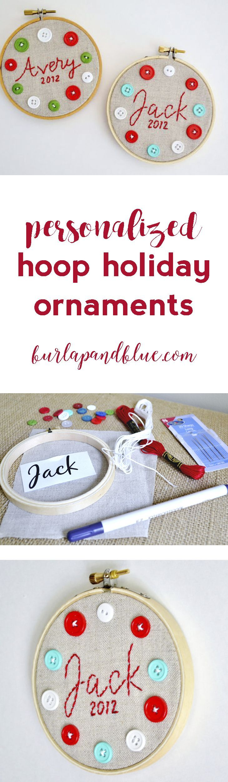 Personalized Hoop Christmas Ornaments